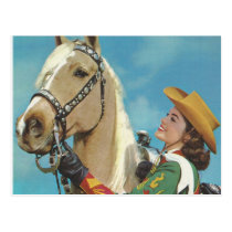 Vintage Western Cowgirl and Palomino Horse Postcard