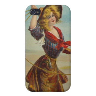 Vintage Western Cowgirl Cowboy Girl Wild West Art Cover For iPhone 4