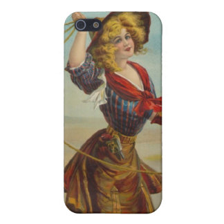 Vintage Western Cowgirl Cowboy Girl Wild West Art Cover For iPhone SE/5/5s