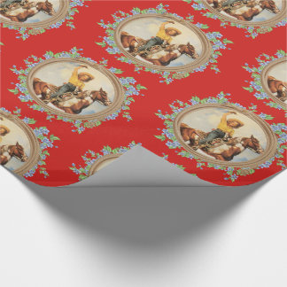 Vintage Western Cowgirl Horse With Rope Flowers Wrapping Paper