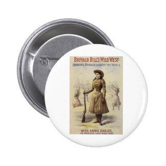 Vintage Western Cowgirl, Miss Annie Oakley Pinback Button