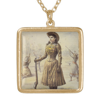 Vintage Western Cowgirl, Miss Annie Oakley Gold Plated Necklace