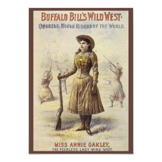 Vintage Western Cowgirl, Miss Annie Oakley 5x7 Paper Invitation Card