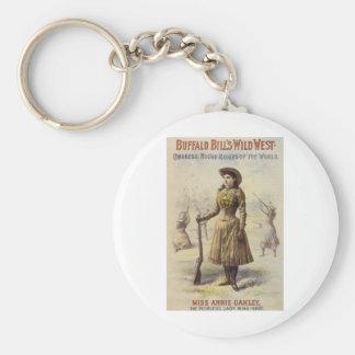 Vintage Western Cowgirl, Miss Annie Oakley Basic Round Button Keychain