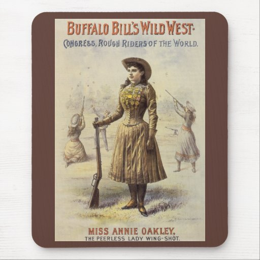 Vintage Western Cowgirl, Miss Annie Oakley Mouse Pad