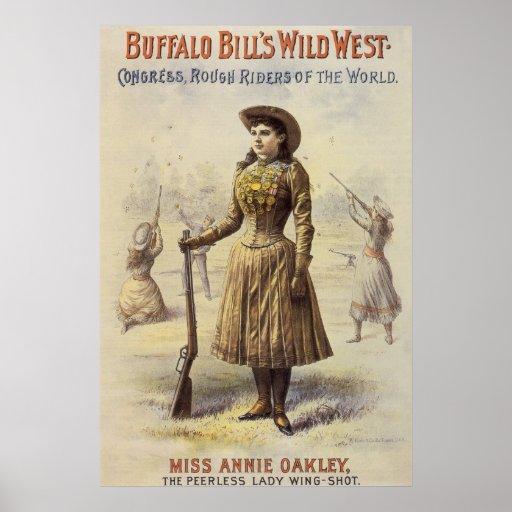 Vintage Western Cowgirl Miss Annie Oakley Poster