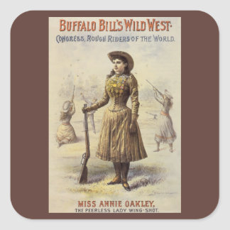 Vintage Western Cowgirl, Miss Annie Oakley Square Stickers