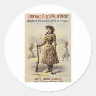 Vintage Western Cowgirl, Miss Annie Oakley Classic Round Sticker