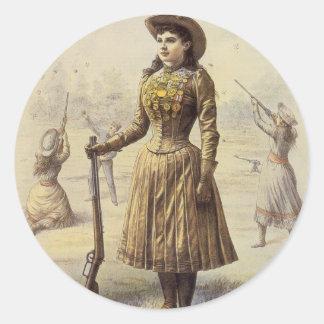 Vintage Western Cowgirl Miss Annie Oakley Round Sticker