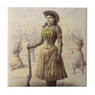 Vintage Western Cowgirl, Miss Annie Oakley Small Square Tile