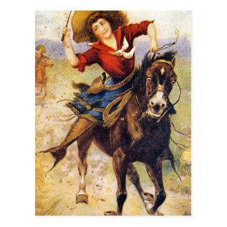 Vintage Western Cowgirl On Horse Postcard