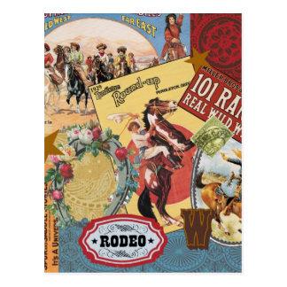 Vintage Western cowgirl postcard