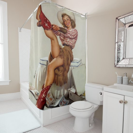 Vintage Western Cowgirl Putting On Boots Shower Curtain