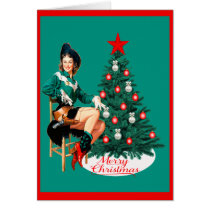 Vintage Western Cowgirl With Christmas Tree Card