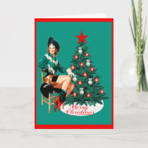 Vintage Western Cowgirl With Christmas Tree Holiday Card
