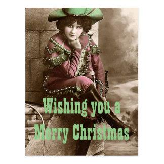 Vintage Western Fashion Christmas Postcard