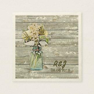 vintage western flowers mason jar barn wedding disposable napkins