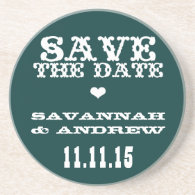 Vintage Western Font Save the Date Gifts Beverage Coaster
