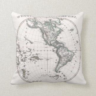 Vintage Western Hemisphere Map (1873) Throw Pillow