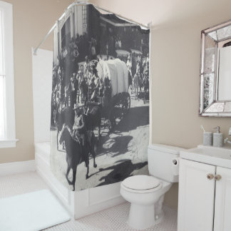 Vintage Western Houston Tx Rodeo Parade Trail Ride Shower Curtain