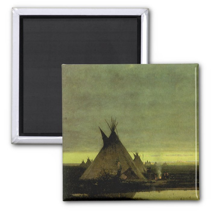 Vintage Western, Indian Camp at Dawn by Tavernier 2 Inch Square Magnet