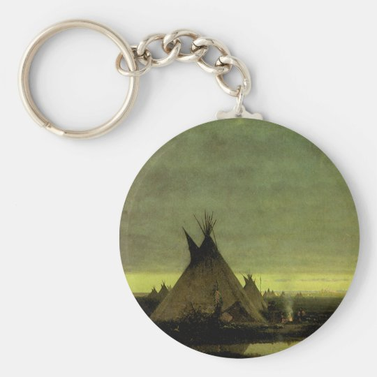 Vintage Western, Indian Camp at Dawn by Tavernier Keychain