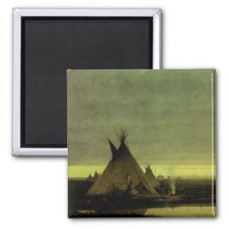 Vintage Western, Indian Camp at Dawn by Tavernier Magnet