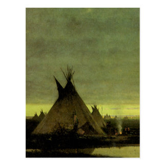 Vintage Western, Indian Camp at Dawn by Tavernier Postcard