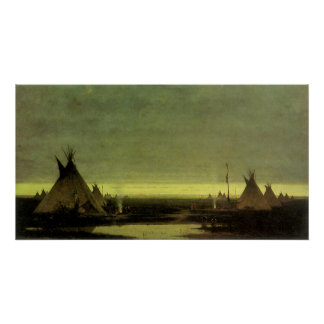 Vintage Western, Indian Camp at Dawn by Tavernier Poster