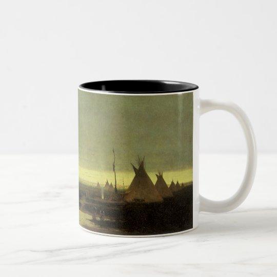 Vintage Western, Indian Camp at Dawn by Tavernier Two-Tone Coffee Mug