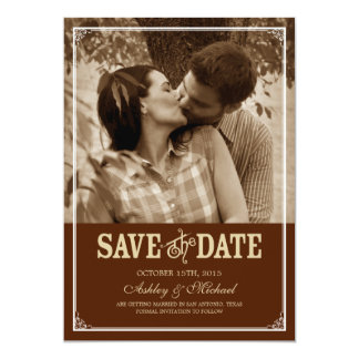 Vintage Western Photo Save The Date Invitation