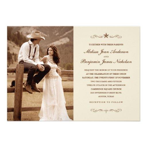 Vintage Western Photo Wedding Invitations 5 X 7 Invitation Card