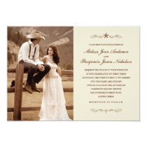 Vintage Western Photo Wedding Invitations