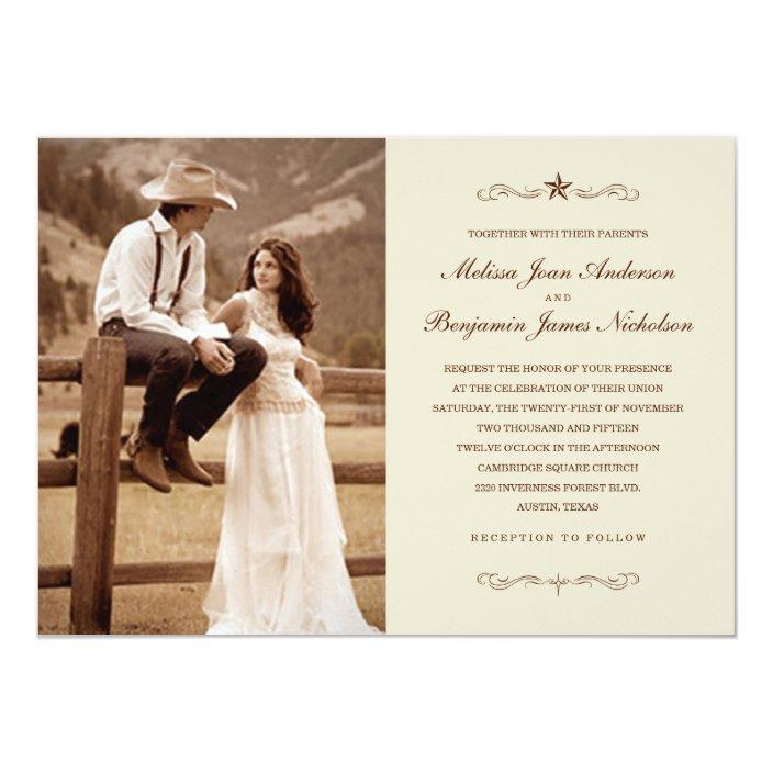 Vintage Western Photo Wedding Invitations Zazzle Com
