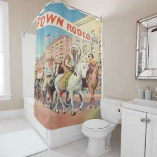 Vintage Western Rodeo Parade Print Shower Curtain