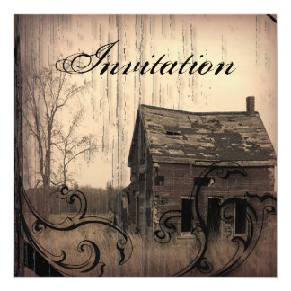 "Vintage Western  Rustic Country Wedding Invitation 5.25"" Square Invitation Card"