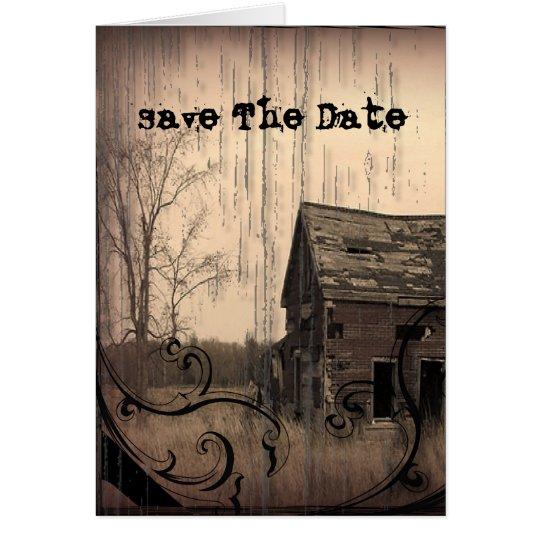 Vintage Western Rustic farm barn Country Wedding Card