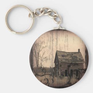 Vintage Western Rustic farm barn Country Wedding Keychain