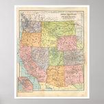 Vintage Western States Map Poster