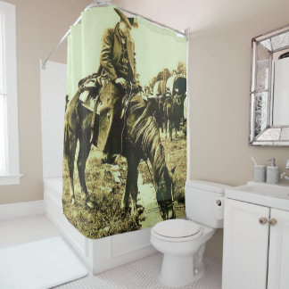 Vintage Western Texas Cowboy Trail Ride Horse Shower Curtain
