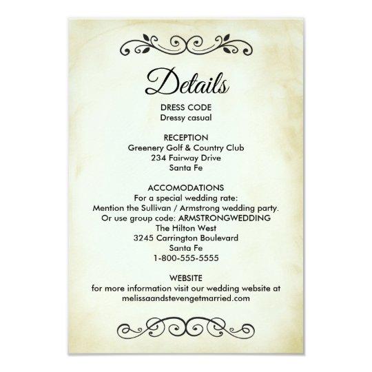 Vintage Western Theme Wedding Details Enclosure Invitation