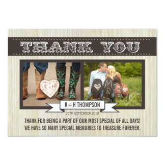 Vintage Western Wedding Thank You Photo Cards Invitations