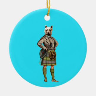 Vintage Westie Double-Sided Ceramic Round Christmas Ornament