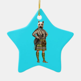 Vintage Westie Double-Sided Star Ceramic Christmas Ornament