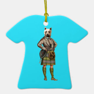 Vintage Westie Double-Sided T-Shirt Ceramic Christmas Ornament