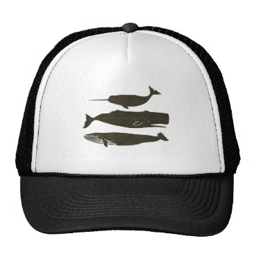 Beach Themed Vintage Whale Artwork Nautical Picture Trucker Hat