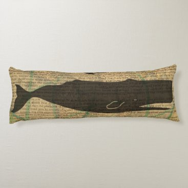 Beach Themed Vintage Whale Artwork Picture Nautical Body Pillow