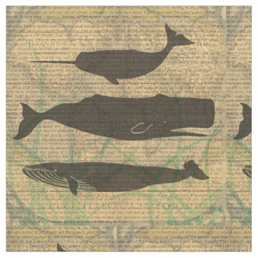 Beach Themed Vintage Whale Artwork Picture Nautical Fabric