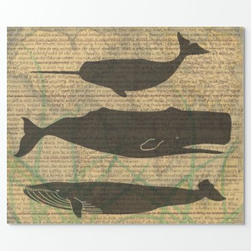 Beach Themed Vintage Whale Artwork Picture Nautical Wrapping Paper