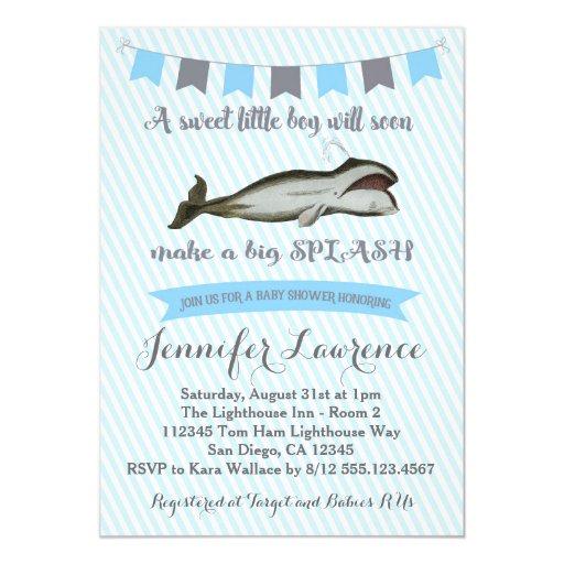 Vintage Whale Baby Boy Shower Invitation
